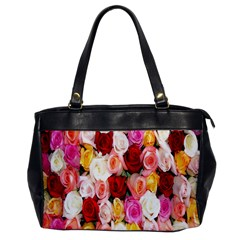 Rose Color Beautiful Flowers Office Handbags by BangZart