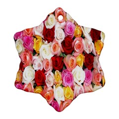 Rose Color Beautiful Flowers Snowflake Ornament (two Sides) by BangZart