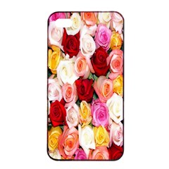 Rose Color Beautiful Flowers Apple Iphone 4/4s Seamless Case (black)