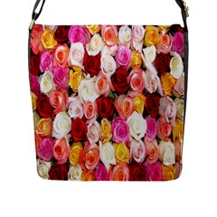 Rose Color Beautiful Flowers Flap Messenger Bag (l)