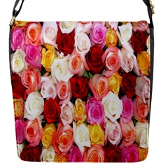Rose Color Beautiful Flowers Flap Messenger Bag (s)