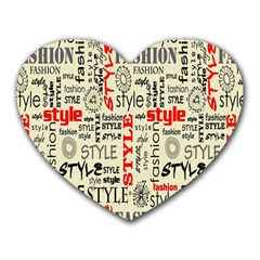 Backdrop Style With Texture And Typography Fashion Style Heart Mousepads