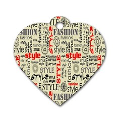 Backdrop Style With Texture And Typography Fashion Style Dog Tag Heart (two Sides)