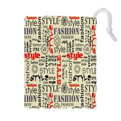 Backdrop Style With Texture And Typography Fashion Style Drawstring Pouches (extra Large) by BangZart