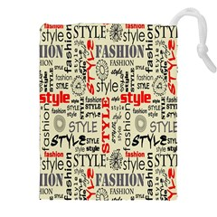 Backdrop Style With Texture And Typography Fashion Style Drawstring Pouches (xxl)