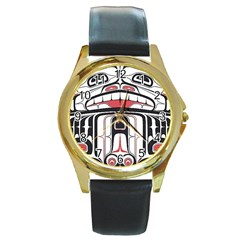 Ethnic Traditional Art Round Gold Metal Watch by BangZart
