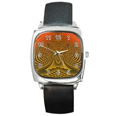 Fractal Pattern Square Metal Watch