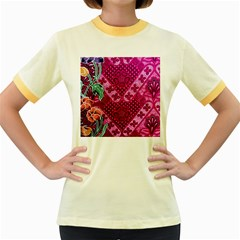 Pink Batik Cloth Fabric Women s Fitted Ringer T Shirts by BangZart