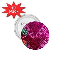 Pink Batik Cloth Fabric 1 75  Buttons (10 Pack)