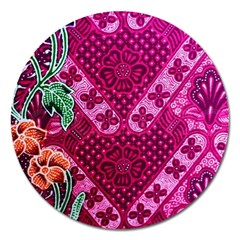 Pink Batik Cloth Fabric Magnet 5  (round)