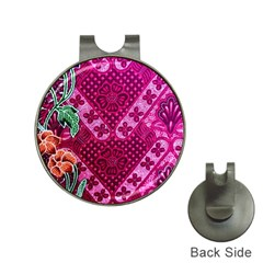 Pink Batik Cloth Fabric Hat Clips With Golf Markers by BangZart