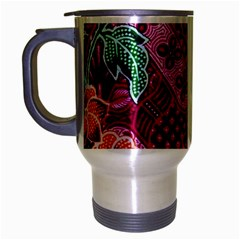 Pink Batik Cloth Fabric Travel Mug (silver Gray)