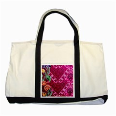 Pink Batik Cloth Fabric Two Tone Tote Bag by BangZart