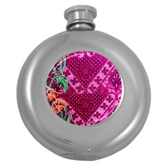 Pink Batik Cloth Fabric Round Hip Flask (5 Oz) by BangZart