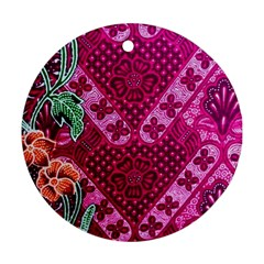 Pink Batik Cloth Fabric Round Ornament (two Sides)