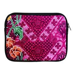 Pink Batik Cloth Fabric Apple Ipad 2/3/4 Zipper Cases by BangZart
