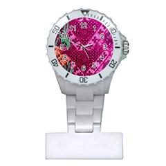 Pink Batik Cloth Fabric Plastic Nurses Watch