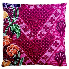 Pink Batik Cloth Fabric Standard Flano Cushion Case (two Sides)