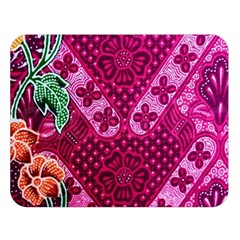 Pink Batik Cloth Fabric Double Sided Flano Blanket (large)