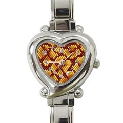 Snake Skin Pattern Vector Heart Italian Charm Watch