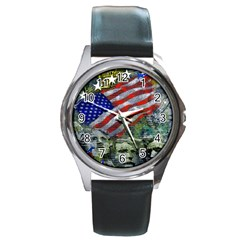 Usa United States Of America Images Independence Day Round Metal Watch by BangZart