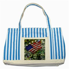 Usa United States Of America Images Independence Day Striped Blue Tote Bag by BangZart
