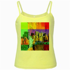 New York City The Statue Of Liberty Yellow Spaghetti Tank