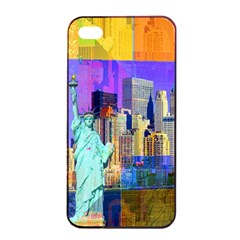 New York City The Statue Of Liberty Apple Iphone 4/4s Seamless Case (black)