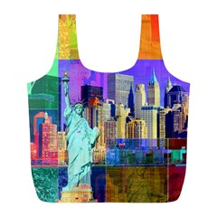 New York City The Statue Of Liberty Full Print Recycle Bags (l)