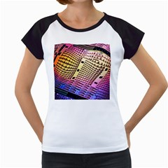 Optics Electronics Machine Technology Circuit Electronic Computer Technics Detail Psychedelic Abstra Women s Cap Sleeve T