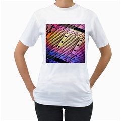 Optics Electronics Machine Technology Circuit Electronic Computer Technics Detail Psychedelic Abstra Women s T Shirt (white) (two Sided)