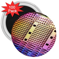 Optics Electronics Machine Technology Circuit Electronic Computer Technics Detail Psychedelic Abstra 3  Magnets (100 Pack) by BangZart