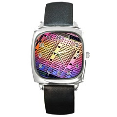 Optics Electronics Machine Technology Circuit Electronic Computer Technics Detail Psychedelic Abstra Square Metal Watch