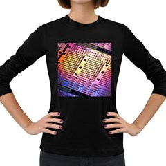 Optics Electronics Machine Technology Circuit Electronic Computer Technics Detail Psychedelic Abstra Women s Long Sleeve Dark T Shirts