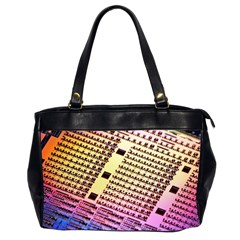 Optics Electronics Machine Technology Circuit Electronic Computer Technics Detail Psychedelic Abstra Office Handbags (2 Sides)  by BangZart