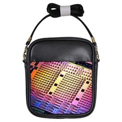 Optics Electronics Machine Technology Circuit Electronic Computer Technics Detail Psychedelic Abstra Girls Sling Bags by BangZart