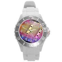 Optics Electronics Machine Technology Circuit Electronic Computer Technics Detail Psychedelic Abstra Round Plastic Sport Watch (l) by BangZart