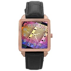 Optics Electronics Machine Technology Circuit Electronic Computer Technics Detail Psychedelic Abstra Rose Gold Leather Watch  by BangZart