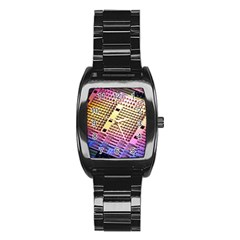 Optics Electronics Machine Technology Circuit Electronic Computer Technics Detail Psychedelic Abstra Stainless Steel Barrel Watch