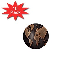 Grunge Map Of Earth 1  Mini Buttons (10 Pack)  by BangZart