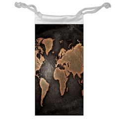 Grunge Map Of Earth Jewelry Bag