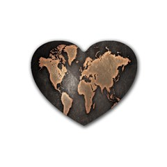 Grunge Map Of Earth Rubber Coaster (heart)