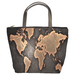 Grunge Map Of Earth Bucket Bags by BangZart