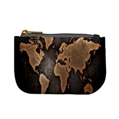 Grunge Map Of Earth Mini Coin Purses