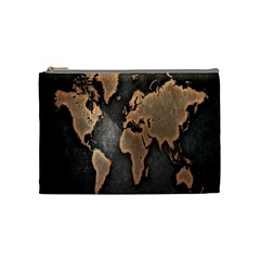Grunge Map Of Earth Cosmetic Bag (medium)