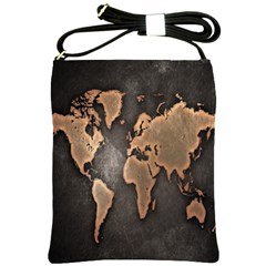 Grunge Map Of Earth Shoulder Sling Bags by BangZart
