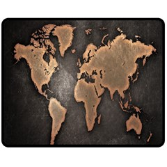 Grunge Map Of Earth Fleece Blanket (medium)