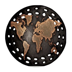 Grunge Map Of Earth Ornament (round Filigree)