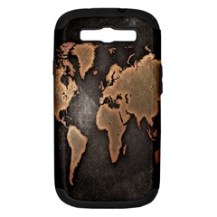 Grunge Map Of Earth Samsung Galaxy S Iii Hardshell Case (pc+silicone) by BangZart
