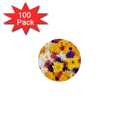 Colorful Flowers Pattern 1  Mini Buttons (100 Pack)  by BangZart
